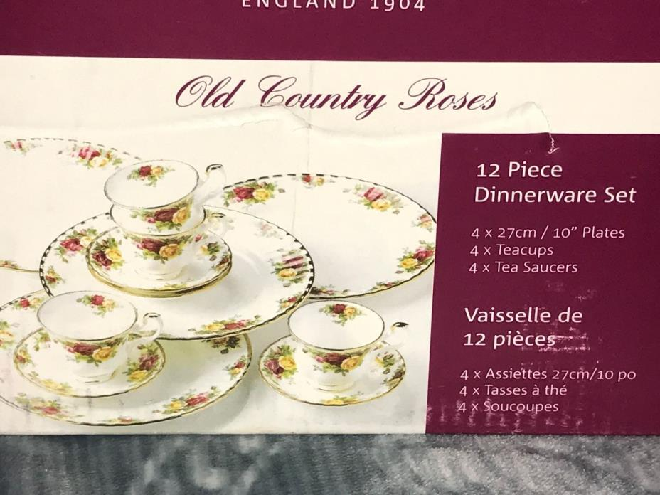Royal Albert Old Country Roses 12 Piece Dinnerware Set Service for 4 - New