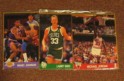 Lot of 3  NBA Hoops Action Photos: Magic Johnson, Larry Bird, Michael Jordan