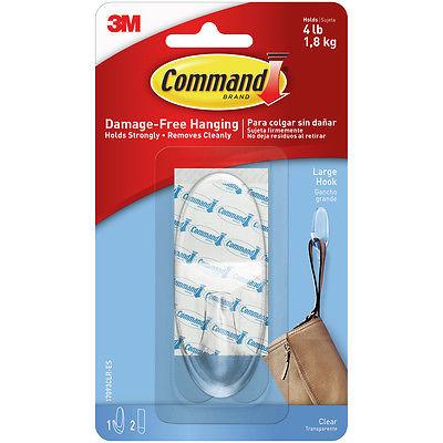 Command Large Hook 1/Pkg-1 Clear Hook & 2 Strips