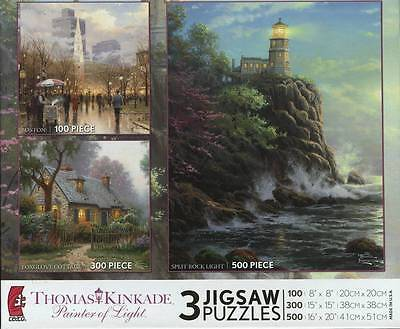KINKADE 3 IN 1 PUZZLE 100/300/500 PIECES  NEW RARE