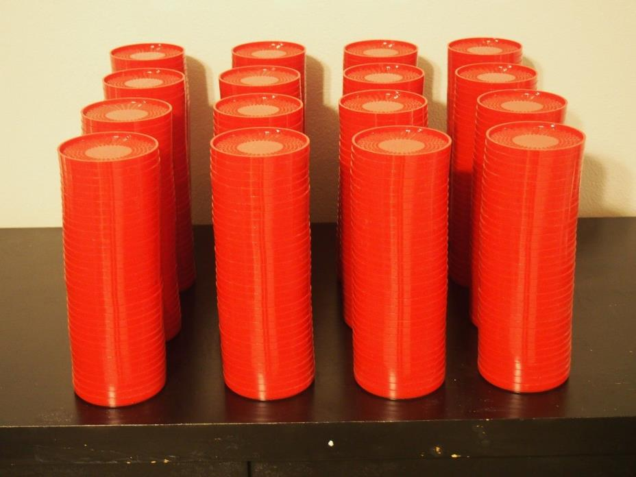 Huge Lot of Red Plastic Coasters (528)