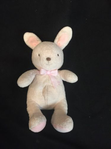 Carter's Just One Year Bunny Tan Rattle Plush Rabbit Pink Ears Gingham Ribbon 12