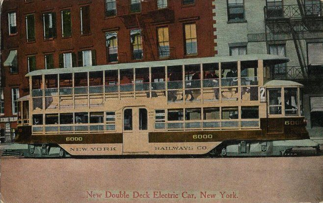 Old Postcard - New Double Deck Electric Car - New York