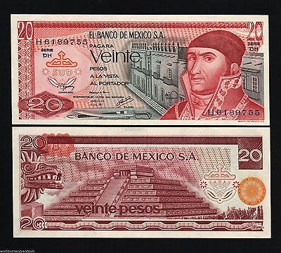 20 PESO MEXICO PAPER MONEY 1972