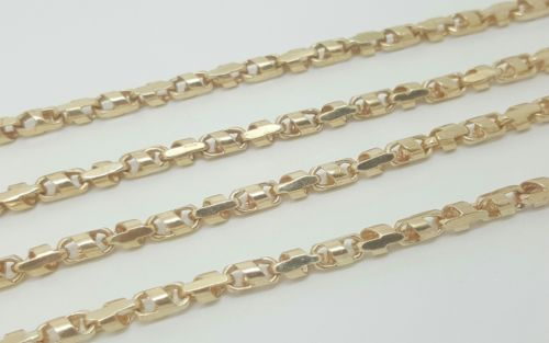 Men's 14k Solid Yellow Gold Bullet Link Chain Necklace 29