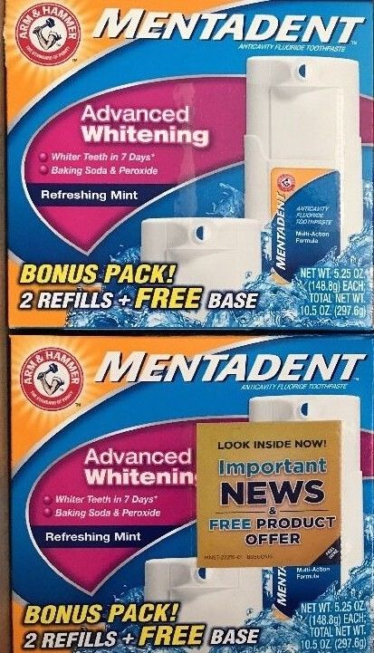 MENTADENT ADVANCE WHITENING/BONUS PACK 2 Refill + FREE BASE (LOT OF 2)*Free Ship