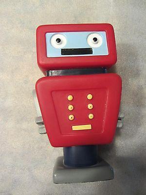 Robot Piggy Bank Kids Rubber-Like Plastic PVC Red Classic Retro Design 8 Inches