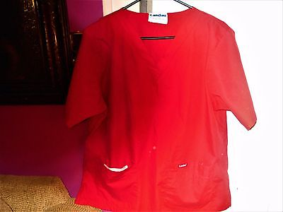 Red V Neck Landau Scrub Top L
