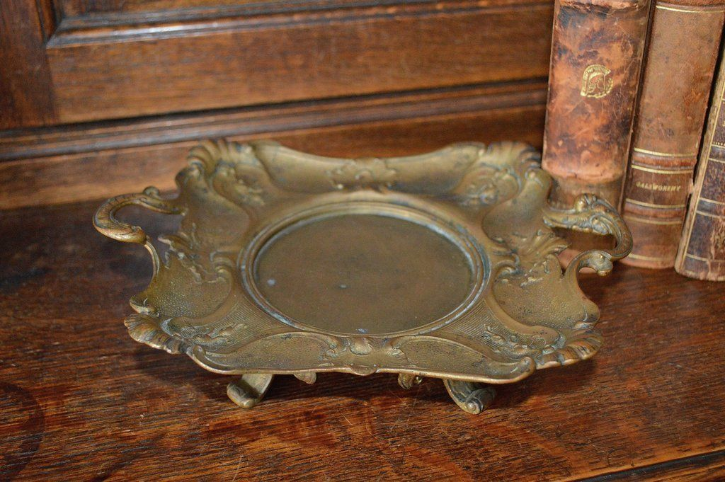 Antique French Footed Dish Tray Stand Bronze with Handles Floral Shell Motif