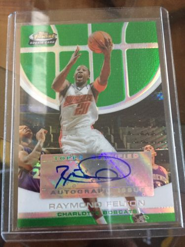 2005-2006 Raymond Felton Topps Finest Green Autograph Refractor RC Bobcats 18/99