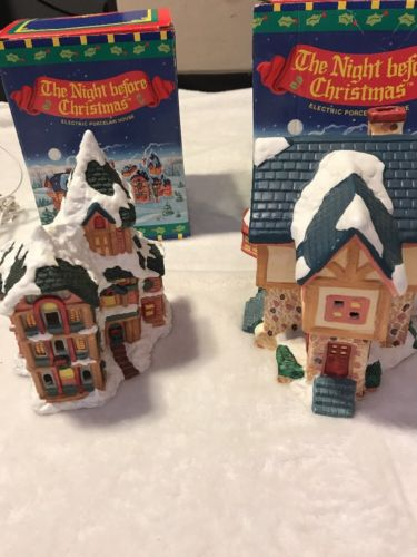 Vintage Russ The Night Before Christmas Electric Porcelain House Set In Box