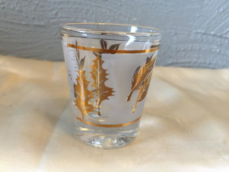 Dominion Libby Frosted Gold Leaf shot glasses vintage barware