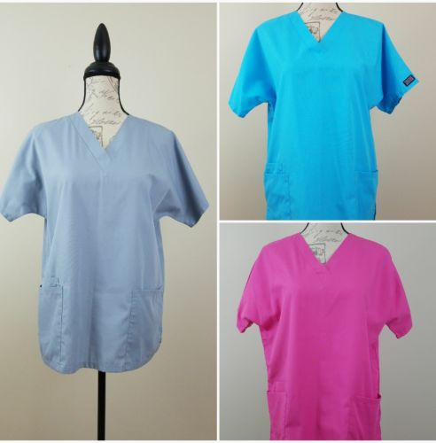 Lot of 3 WOMEN'S SCRUBS CHEROKEE WORKWEAR SMALL Pink Gray Turquoise STYLE 4700