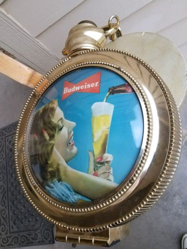 VINTAGE BUDWEISER Rotating Large Pocket Watch Lighted Sign & Clock Lady w/ Beer