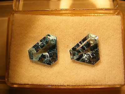 A PAIR OF BLUE TOPAZ KITE SHAPE