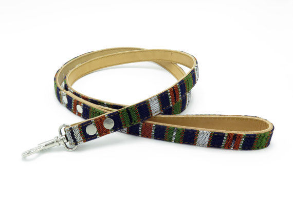 Guatemalan Leather Dog Leash - Green Multi - Size Small