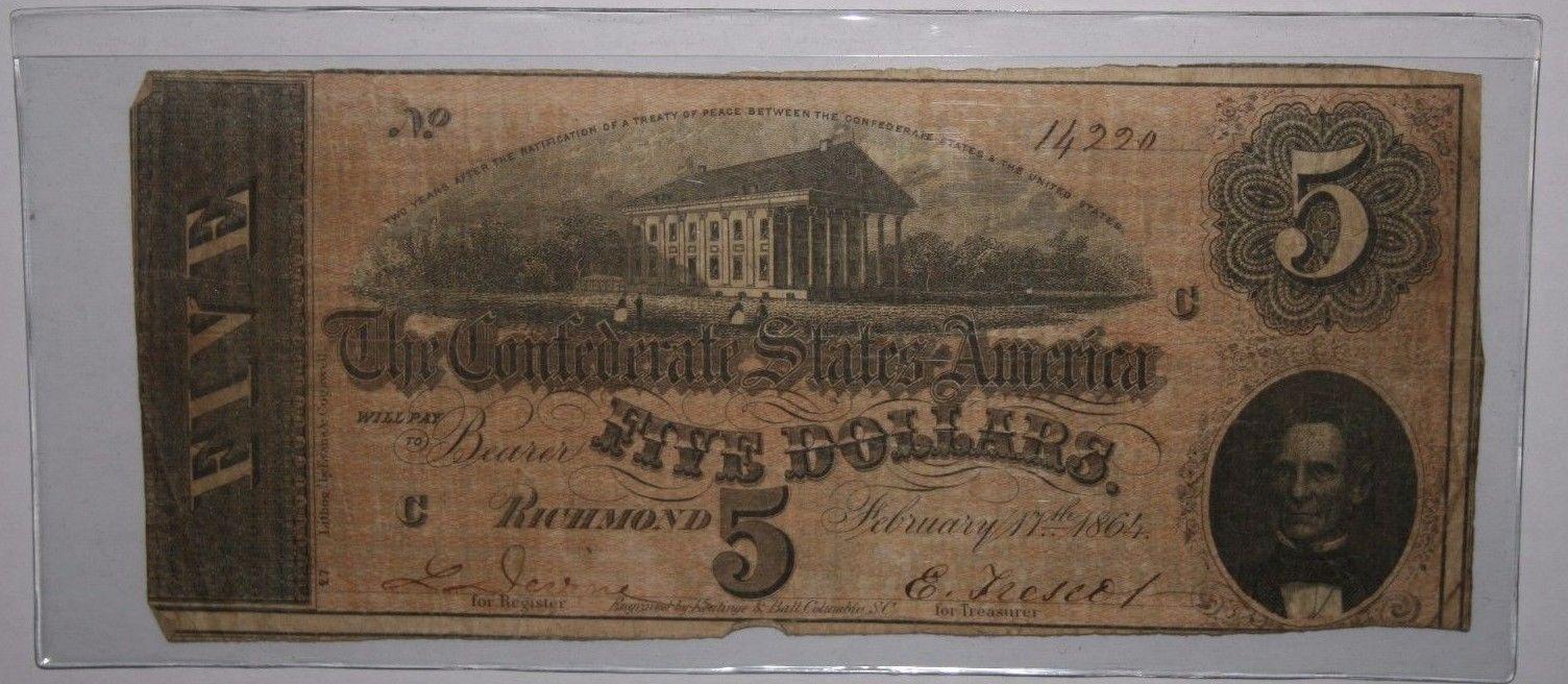$5 Confederate Note 1864 Jefferson Davis CSA