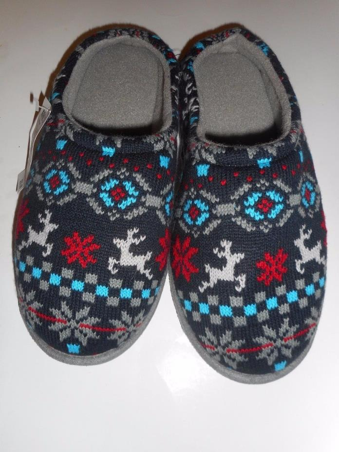 Young Mens Navy Sweater Slip-on House Slippers Reindeer Snowflake Design Large