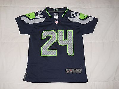 Marshawn Lynch Seattle Seahawks Vtg College Navy Youth Nike Football Jersey S