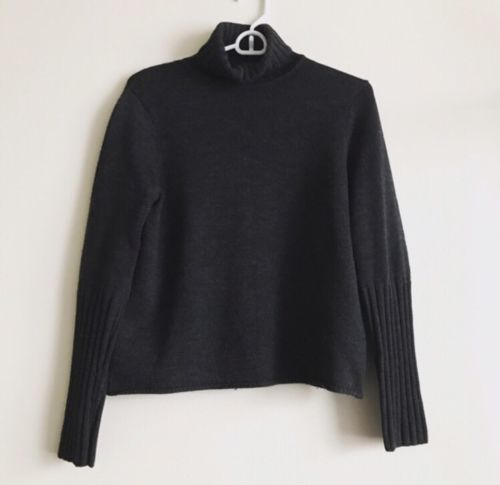 Eileen Fisher Turtle Neck Sweater Thick XS 100% Merino Wool, Italian Yarn Black