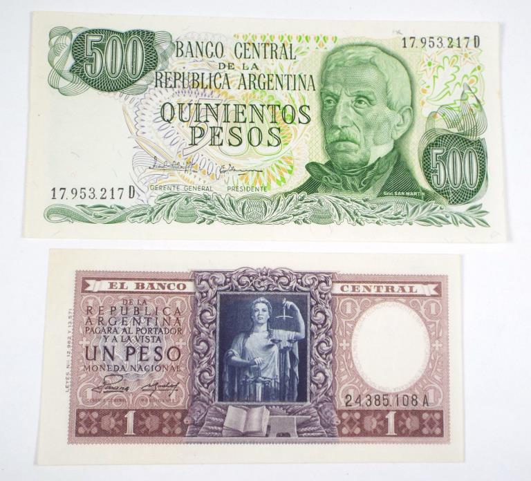 Argentina 1947 1 Peso & (ND) 500 Pesos
