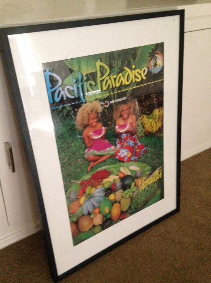 AIR VANUATU VINTAGE FRAMED ADVERTISING POSTER  ISLAND OCEANIA MELANESIAN GIRLS