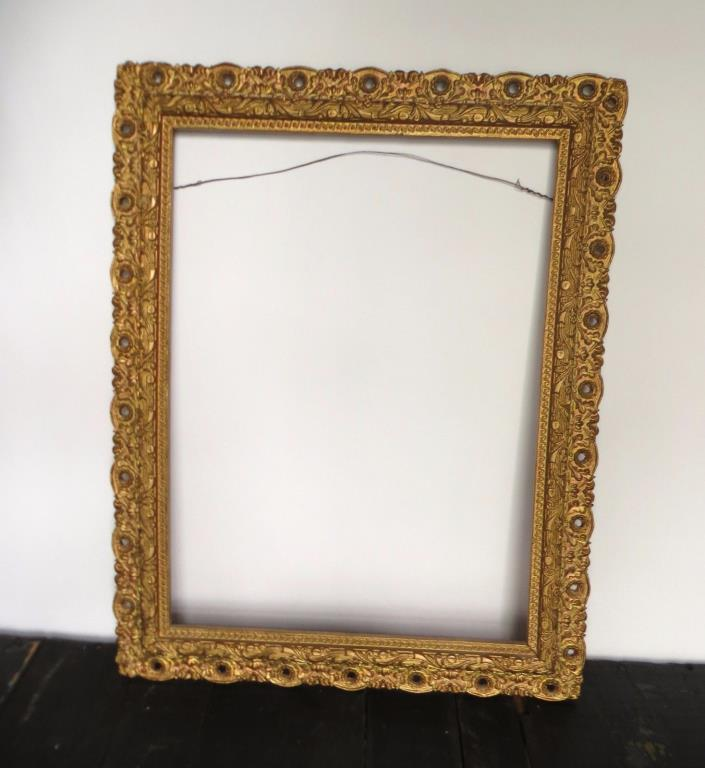 Antique Gold Gesso Wood Picture Frame  14
