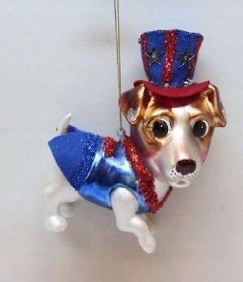 December Diamonds dog Patriotic Christmas ornament 79-80425 Uncle Sam