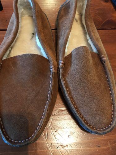 J CREW Mens shearling slippers  Cinnamon 11 # B5088