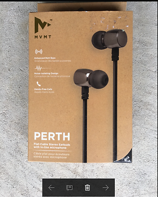 MVMT Perth Flat-Cable Stereo Earbuds with In-Line Microphone