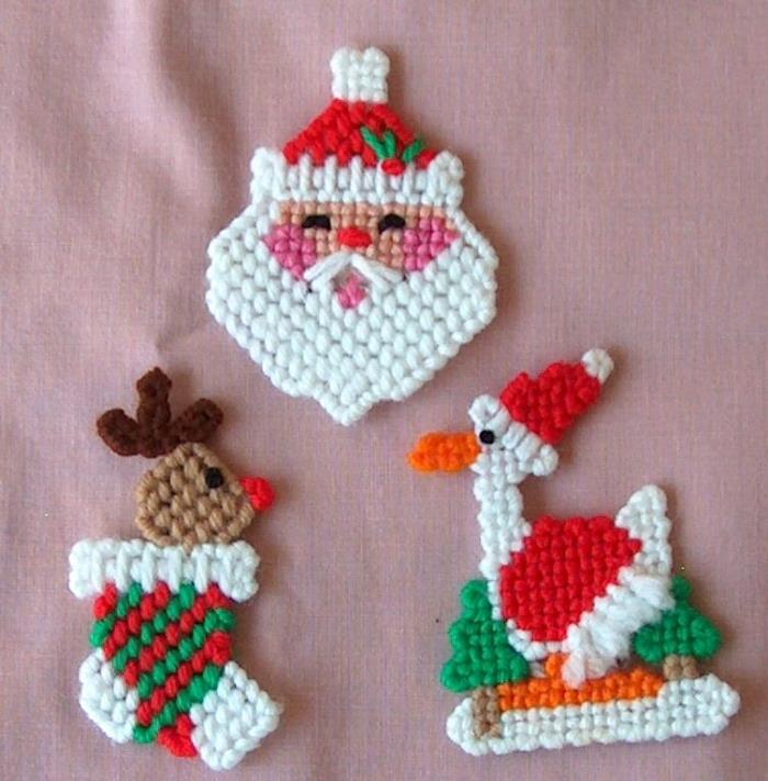 3 New Handmade Christmas Magnets: Stocking w Reindeer, Santa & Goose Set B