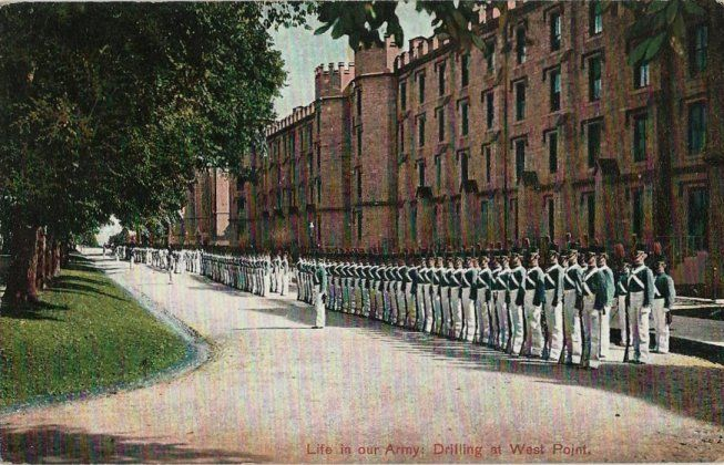 Old Postcard - Life in Our Army - Drilling at West Point NY
