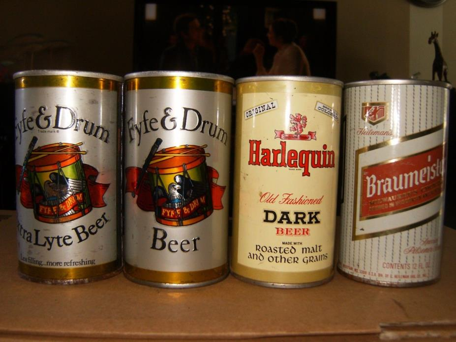 4 VINTAGE 12 OZ. STRAIGHT STEEL BEER CANS: FYFE & DRUM   HARLEQUIN  BRAUMEISTER