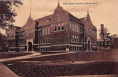 High School Adrian Michigan Vintage Postcard