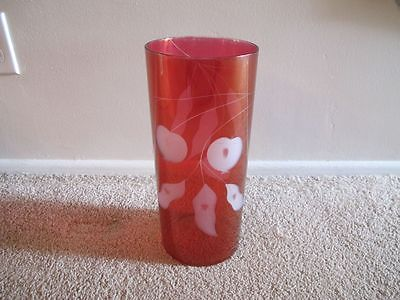 Very Rare Antique Red Etched Glass Vase Cherry & Leaves Motif