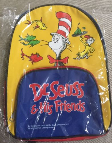 Vintage 1997 Dr. Seuss and His Friends Bookbag Backpack Cat in the hat Brand New
