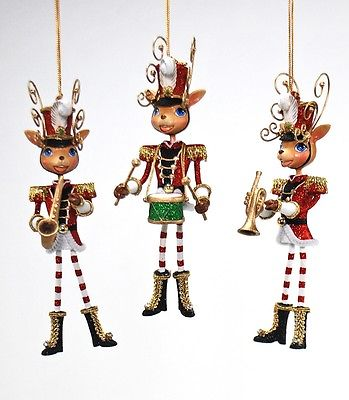 Katherine's Collection reindeer band Christmas ornament 28-530492 set of 3 8