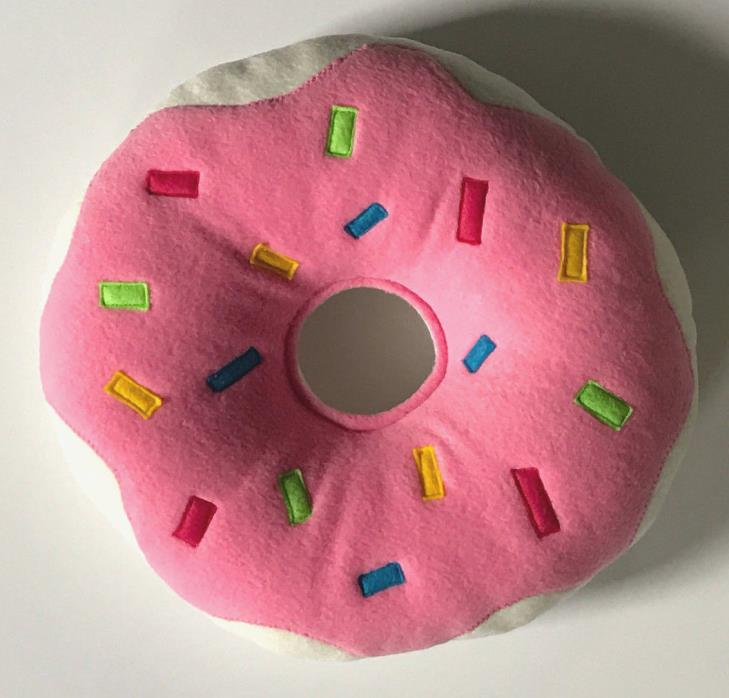 Handmade Donut Pillow Pink Icing with Colorful Sprinkles