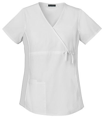 Cherokee Maternity Mock Wrap Knit Panel Top 2892 White WHTD