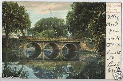 1900's Arched BRIDGE Charles River BOSTON Area Mass. Massachusetts MA Postcard