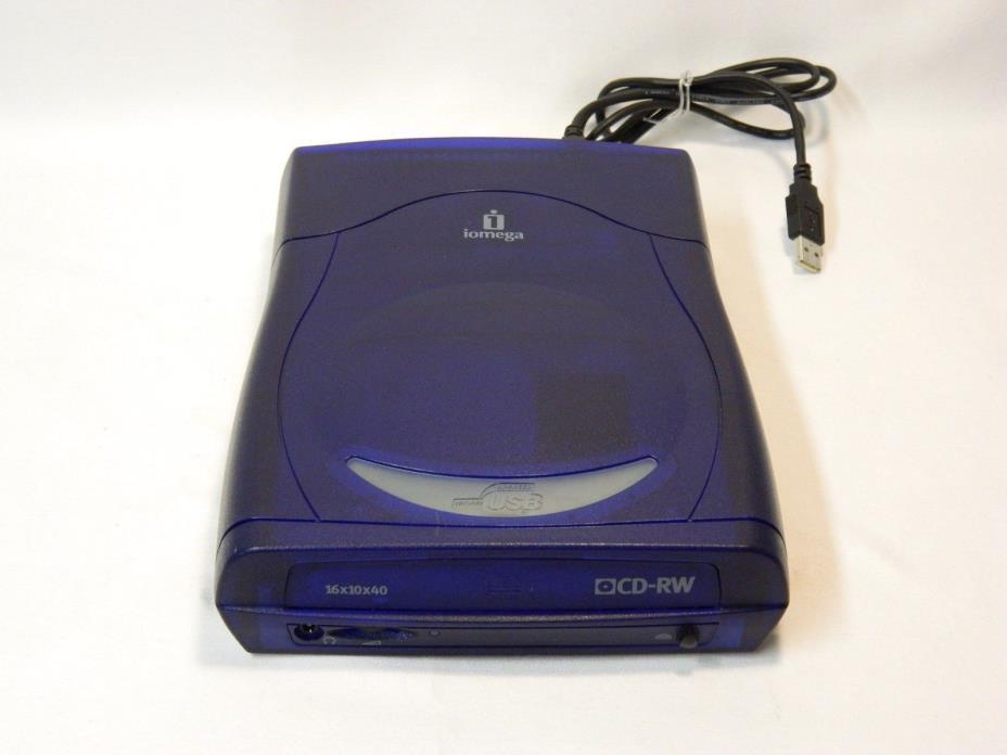 IOMEGA CDRW6402EXT 16x10x40 External CD-RW Drive W/ USB CORD - NO POWER CORD