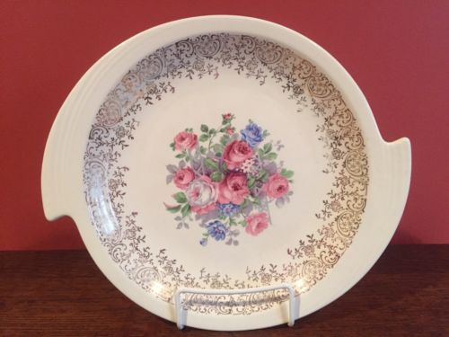 Vintage Art Deco Platter with Gold Trim and Floral Decal