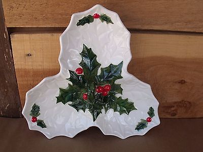 Vintage LEFTON Christmas White Candy & Nut Dish Holly Berries 1972-1973 #6059