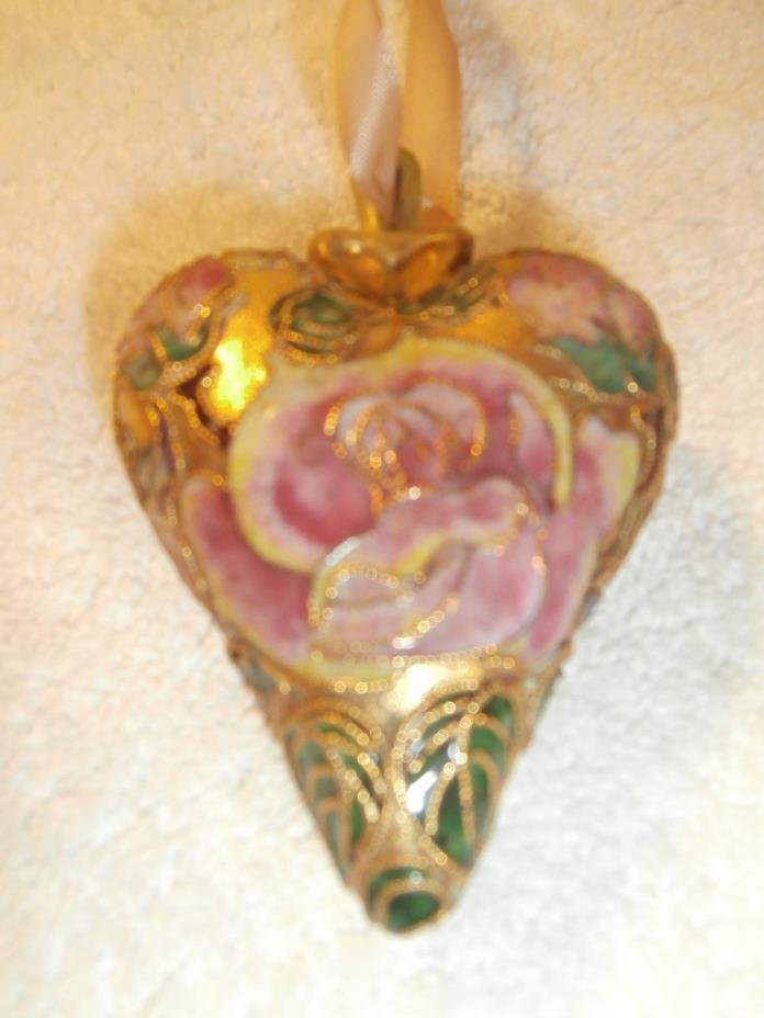 VTG Gold Gilded Enamel Cloisonne Chinese Large Puffy Heart Flower Design