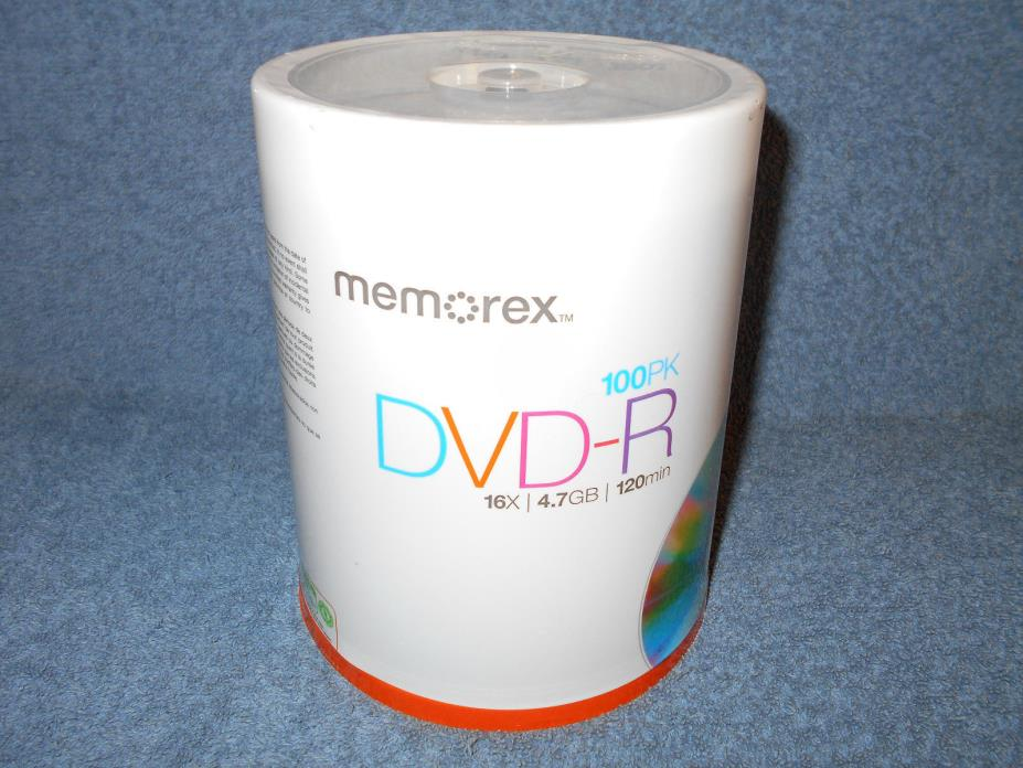 MEMOREX 100PK DVD-R 16X 4.7GB 120 MINUTE RECORDABLE DVD SPINDLE - NEW SEALED
