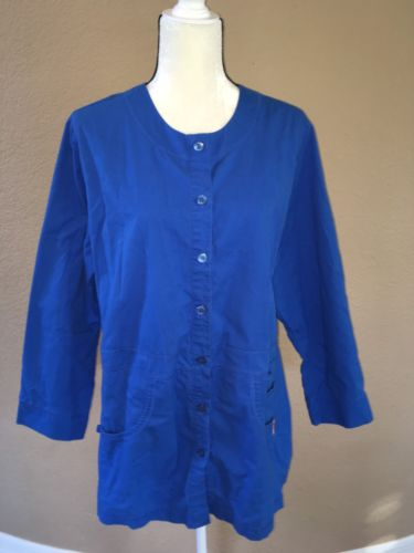 KOI By Kathy Peterson Royal Blue Scrub Jacket Style 406 Size 2X