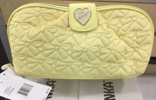Betsy Johnson Love XL Make Up Case Convertible Clutch Pale Yellow NWT Adorable!