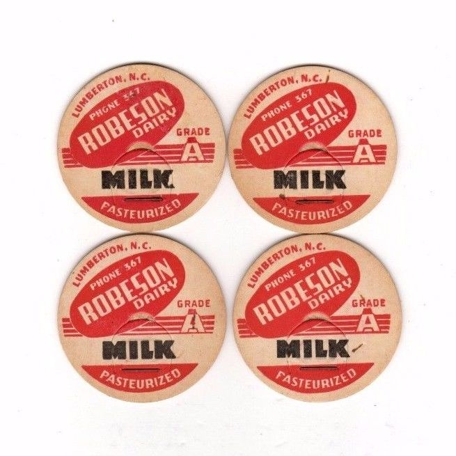 4 Robeson Dairy,Lumberton,N.C.  Milk Bottle Caps