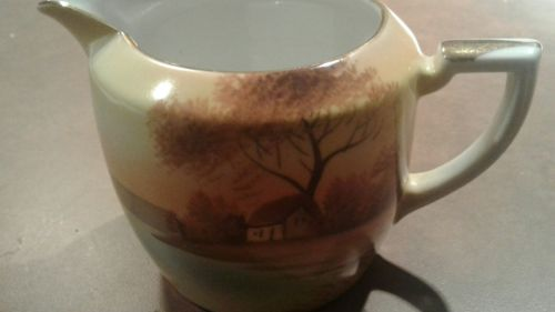 Noritake Tree In Meadow Hand Painted Small Pitcher Creamer Japan EUC