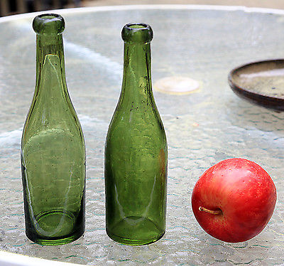 pair of green miniature wines or sodas, applied blob tops, ca. 1875-'80